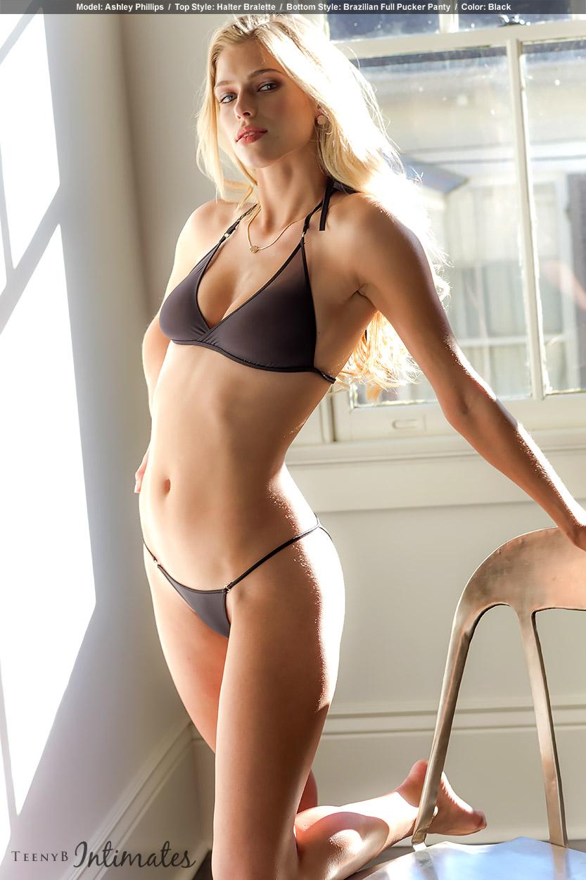 Ashley Phillips in black cheeky panties