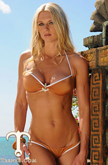 Holly Bricken in a tan brazilian cut bikini