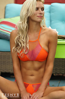 Katie Kearney in a orange mesh bikini