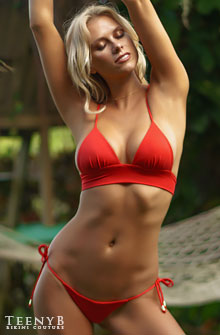 Katie Kearney in a red tie side bikini