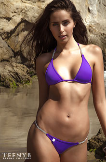 Lena Hunter in a purple bikini
