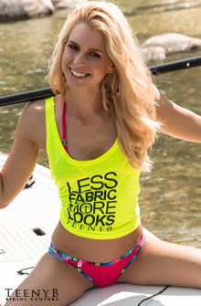 Violet Louise Marie in a neon tank top