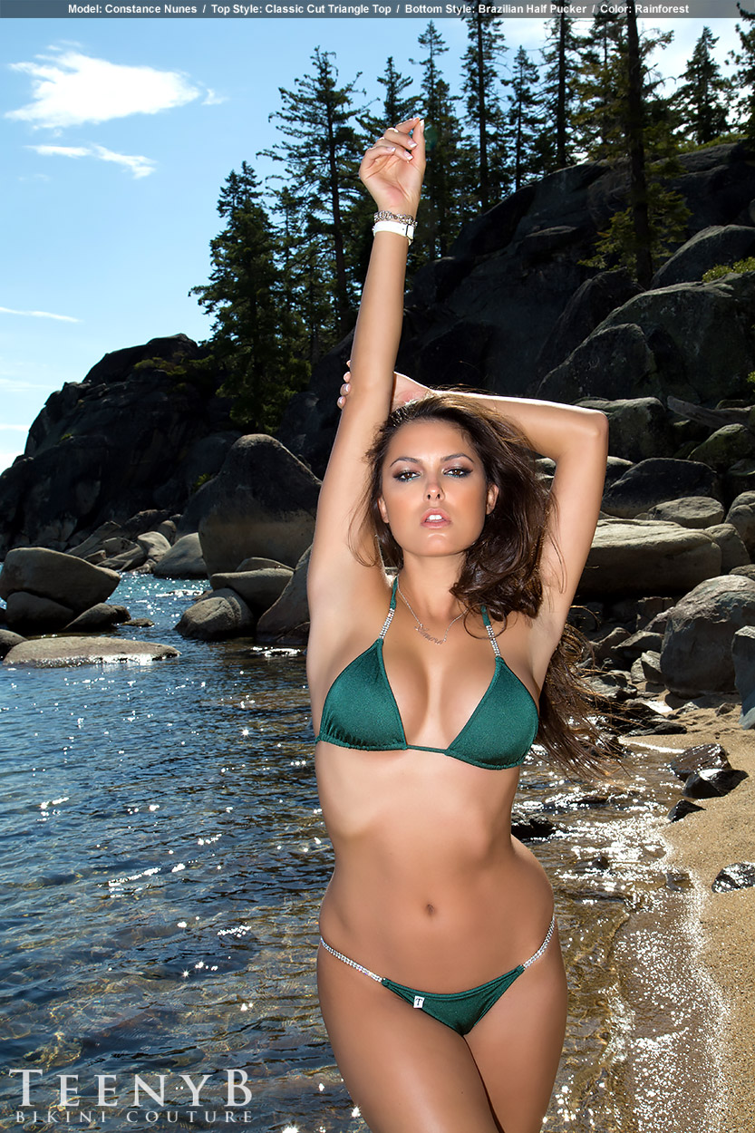 Constance Nunes In A Forest Green Bikini